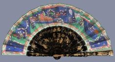 A Chinese lacquer and painted paper 'Mandarin' fan,