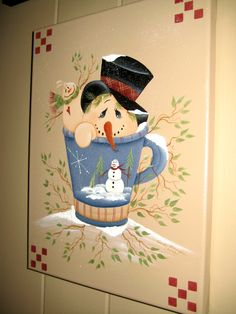 Snowman in a TeaCup                                   Painted on canvas (Mills-Price)