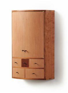Bow front cabinet Cherry, douglas fir, cocobolo