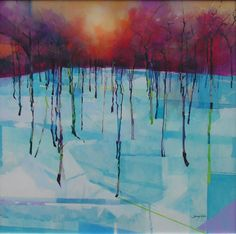 Forest Reflections painting by Doug Eaton, 1000 x 1000mm. Ref: 009-045