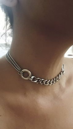 Jewelry OFF! Silver Chains Choker O ring links choker wide crub chain Goth Jewelry, Hippie Jewelry, Beaded Jewelry, Silver Jewelry, Skull Jewelry, Tribal Jewelry, Etsy Jewelry, Jewlery, Silver Chains