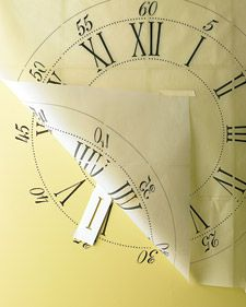 Stenciled Clock: big clocks are expensive, but a clock kit isn't...