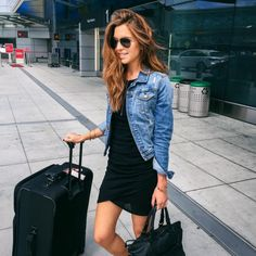 MINIMAL + CLASSIC black dress, denim jacket- can combine with tan/black short boots and cross-body bag