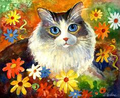 """Whimsical Cat painting in flowers Svetlana Novikova"" by Svetlana Novikova | Redbubble"