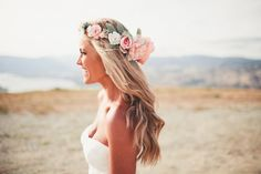 The Everly Floral Crown of Blush, Peach, White and Ivory Blossoms with light greenery tucked within its pretty blooms. Photography by Andria Lindquist  https://www.etsy.com/listing/195013455/the-everly-floral-crown-created-with  Flowers. Bridal Hair. Bride. Wedding. Wedding Hair. Hair Styles. Boho. Hippie. Flower Crown. Veil. $240