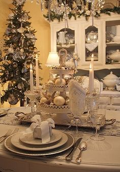Christmas Table Setting...love the all white...have a similar living room/dining room look with touches of french blue