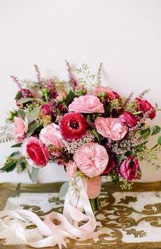 Ranunculus, Juliet roses and astilbe