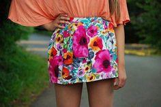 neon floral skirt + pale peach top