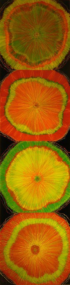 Color Burst Quartet  reverse on plexiglas by Anna Skaradzinska