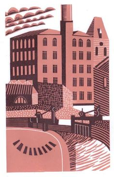 Ebley Mill, Stroud. Reduction Linocut. Copyright Eric Gaskell 2015