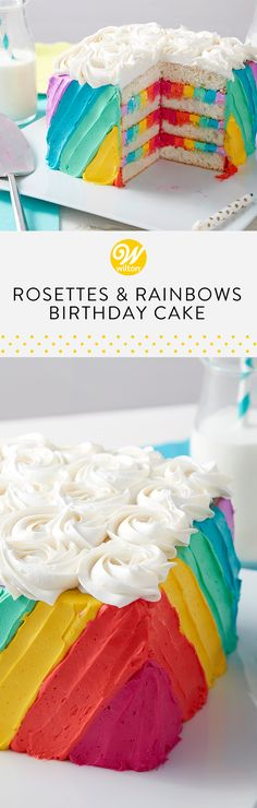 Cut open this cake for a beautiful and colorful surprise! Layered with simple rosettes, this buttercream rainbow cake is perfect for any occasion! #wiltoncakes #cakes #birthday #birthdaypartyideas #birthdaycake #birthdaycakeideas #birthdaydesserts #birthdaythemes #birthdaytreats #birthdayideas #birthdaypartyfood #birthdaykids #classicbirthdaycakes #rainbows #rainbowcakes #colorful #colorfulcakeideas #cakeideas #buttercream #frosting #buttercreamfrosting #buttercreamcake