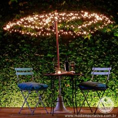 Here is a great idea to convert your broken and useless umbrella to a romantic lighted dinner table umbrella.  Things Required to Prepare:  1) Old Umbrella 2) Wire 3) Lights  How to Prepare Lighted Table Top Umbrella?  – Remove the fabric from an old umbrella you want to use and book tips. – Pass a wire through the holes of the punches.