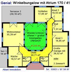 Atrium 7 2 Winkelbungalow Einfamilienhaus Neubau Massivbau Stein auf Stein Courtyard House, House Floor Plans, Planer, My House, Swimming Pools, How To Plan, Bungalows, Sims 4, Houses