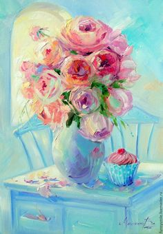 Cup cake and roses Flowers Roses Palette knife Bright Bright Paintings, Paint And Sip, Oil Painting Flowers, Rose Art, Painting Lessons, Letter Art, Art Pictures, Flower Art, Art Drawings