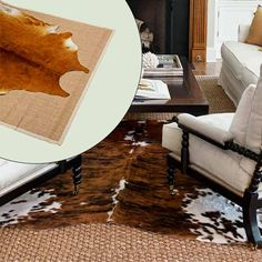 get this look naturalist living room with cow hide rug layered over woven sisal rug Living Room Redo, Rugs In Living Room, Apartment Living, Home And Living, Cowboy Room, Small Lounge, Textured Carpet, Cow Hide Rug, Cool Rugs