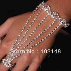 free shipping new design sexy rhinestone slave hand chain  bracelet with finger ring silver plated $4.70