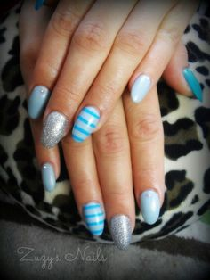 Blue and silver nails. Almond shape acrylic Nails