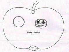 Manzana con gusano de papel plegado