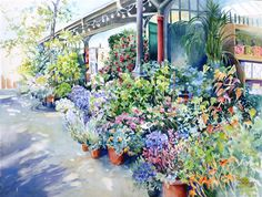 Love this watercolor painting from UGallery. Flower Market, Paris by Catherine McCargar