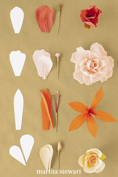 The single-petal method, is used to build a flower petal by petal. Each petal is individually shaped and pleated before being attached to the stem. To construct one of these flowers, first make the appropriate stamen from crepe paper and floral wire and cut the petals and leaves from crepe paper. Then shape the petals, and then attach them with floral tape. #marthastewart #crafts #diyideas #easycrafts  #tutorials #hobby Paper Flower Art, Paper Flowers Craft, Flower Crafts, Diy Flowers, Real Flowers, Crepe Paper Crafts, Paper Roses, Origami Flowers Tutorial, Flower Tutorial