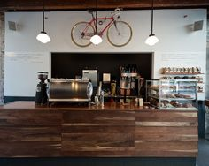 "Really clean layout for this new cafe in NYC, called ""Gasoline Alley"" -- I dig."