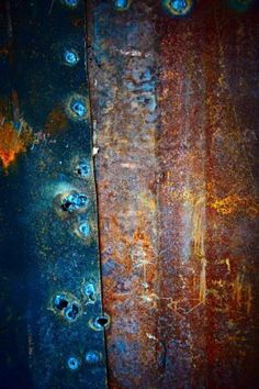 Rusted metal - Love this texture and the contrast of the blue