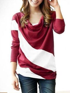 Graceful Cowl Neck Blended Assorted Color Long-sleeve-t-shirt