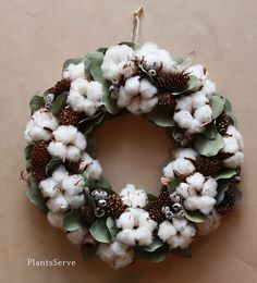soft and pretty! Cotton Bouquet, Cotton Wreath, Flower Decorations, Christmas Decorations, Cotton Decor, Christmas Tree Farm, Welcome Wreath, Cotton Bowl, Flower Boxes