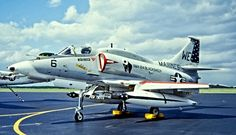 "Douglas A-4M Skyhawk of VMA-214 ""Blacksheep"" Squadron, parked on static display at an air show in Misawa, Japan, 1977."