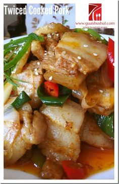 Authentic Sichuan Dish–Twice Cooked Pork (回锅肉) - Guai Shu Shu Szechuan Recipes, Asian Recipes, Healthy Recipes, Twice Cooked Pork, Pork Belly Recipes, Laos Food, Asian Pork, How To Cook Pork, Pork Dishes