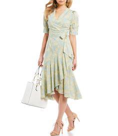 d789f7a927b Antonio Melani Made With Liberty Fabrics V-Neck Tie Waist Ruffle Skirt  Gilly Midi Dress