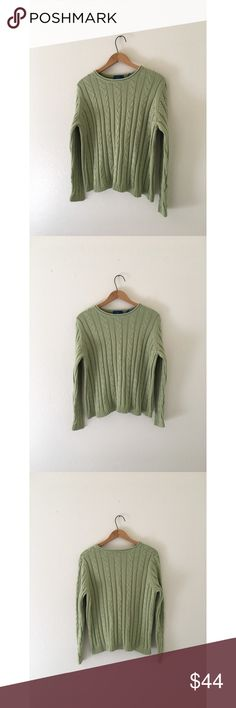 •• Sage|Moss Cable Knit 🌿 • Karen Scott. • Size Large. • 100% cotton, sturdy, medium to thick, high quality cable knit sweater. Not itchy! • 10/10 Like new condition. • Prices are just starting points & absolutely all reasonable best offers are more than welcome. Karen Scott Sweaters Crew & Scoop Necks