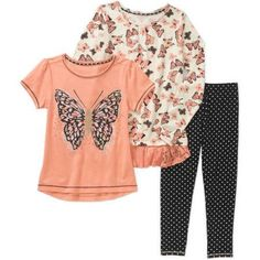 Healthex Girls' 3 Piece Set with Short Sleeve Top, Long Sleeve Top, and Leggings, Size: 8, Orange