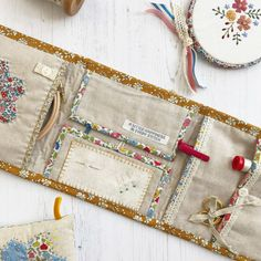'Huswif Liberty Cottage Garden' Kit & Pattern - New Pin Sewing Hacks, Sewing Tutorials, Sewing Crafts, Sewing Projects, Needle Case, Needle Book, Sewing Box, Sewing Notions, Sewing Kits