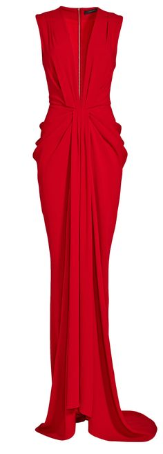 Plunge red gown // Thakoon
