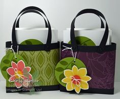 Note Card Totes - made with Stampin' Up! Petal Potpourri, Crazy About You and Park Lane designer series paper