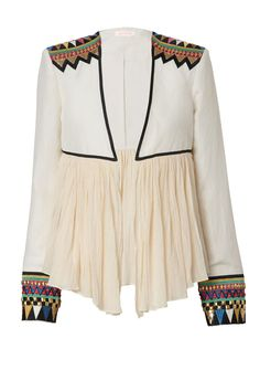 MY FAVOURITE GAME - silk linen jacket. features a dramatic gathered muslin hem, embellished & embroidered graphic panels on cuffs & shoulders. a modern interpretation of ethnic geometry.