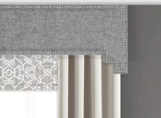 This modern cornice board pelmet box with nailhead trim can be used alone or as a finishing touch to your curtains or other window treatments. The Step-Step edge with nail head trim in this pelmet cornice will add visual interest and textural appeal to any room, transforming your drab space into a fab space. Add pizzazz to your decor and instantly create dramatic impact in your space by incorporating custom cornice board window treatments in your home.