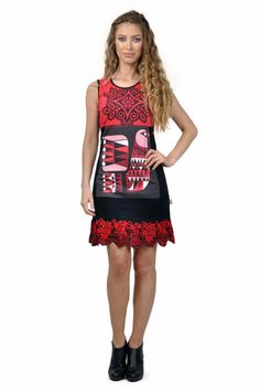 29068-VE Savage Culture Dress Sashka, Black and Red