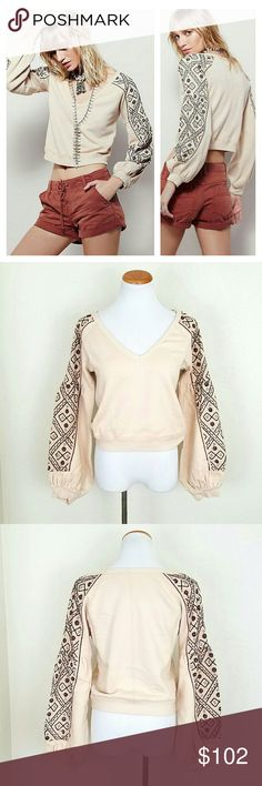 FP Embellished Blouson Sleeved Pullover Sweater by Free People, Soft-touch sweat, V-neckline, Embroidered blouson sleeves, Embellished detail, Ribbed cuffs and hem, Regular fit - true to size, Machine wash, 100% Cotton. Ivory. NWT  Bust 18.5 Length 20  No Trade or PP Bundle discounts Offers Considered Free People Tops Sweatshirts & Hoodies