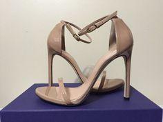 Stuart Weitzman Nudist Adobe Aniline Tan Patent Leather Heels Sandals 8.5 W #StuartWeitzman #FashionHeelsSandalsAnkleStrap