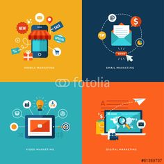 Vektor: Set of flat design concept icons for internet marketing.