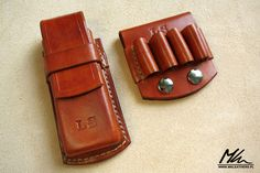 Leather pouch for Leatherman Charge and .410 shotgun cartridge holder www.mkleathers.pl