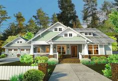 I love this charming craftsman. It is perfect for a family of 4. The garage if off of the kitchen, there is a study with french doors off of the porch.