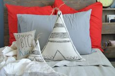 Mini Teepee Pillow , Tipi Pillow, Tepee Pillow, Triangle Pillow, Kid Decor Pillow, Linen Pillow, Nursery Pillow, Tribal Decor, Shower gift by DecoratedRoom on Etsy https://www.etsy.com/listing/240868474/mini-teepee-pillow-tipi-pillow-tepee