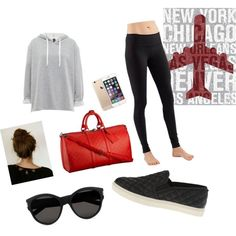 Airport by geriksen on Polyvore featuring polyvore, fashion, style, lululemon, Steve Madden, Yves Saint Laurent and Louis Vuitton