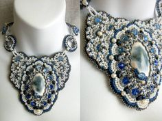Just A Piece Of Sky Beaded Statement Necklace