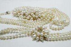 White Pearl Wedding Statement Multi Strand by BeadsGemsFlowers