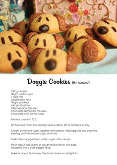 adorable dog cookies (FOR HUMANS). I want to try to make these for my vet, way too cute!