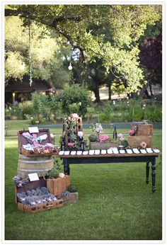 """""""Vinery themed with rustic suitcases for vintage wedding favors and escort cards display from Found Vintage Rentals"""" I just like it xB Wedding Blog, Wedding Reception, Wedding Day, Wedding Entrance, Chic Wedding, Garden Wedding, Wedding Table, Wedding Stuff, Wedding Flowers"""